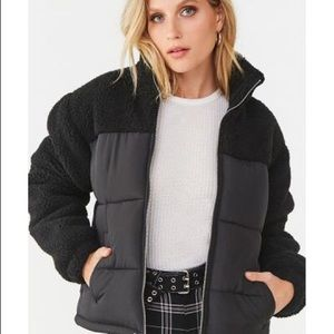 NWT! Forever 21 Faux Shearling Puffer Jacket